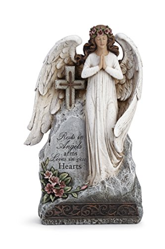 (Love in Our Hearts Praying Angel Cross 8 x 12 Inch Resin Sympathy Bereavement Garden Statue)