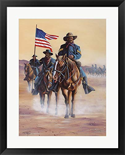 Buffalo Soldiers by Geno Peoples Framed Art Print Wall Picture, Black Frame, 23 x 29 inches