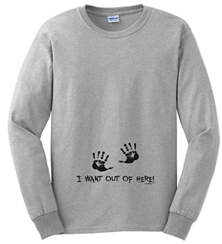 I Want Out of Here Funny Maternity Themed Long Sleeve T-Shirt 2XL Ash