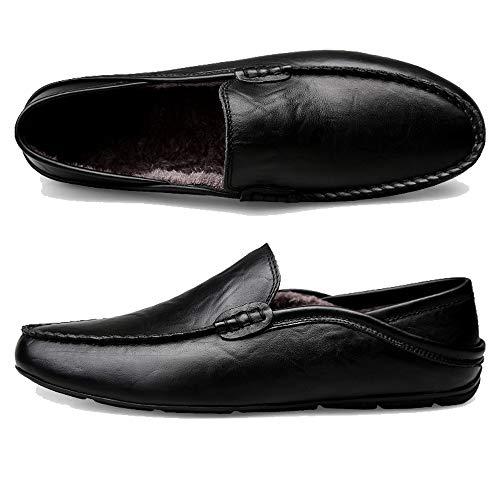 Kamixin Plat Grande Cuir Slip Mocassins Noir Été Mode Homme Taille On Respirant Flâneurs Conduite b Chaussures Décontractées De Loafers vZvwIrq
