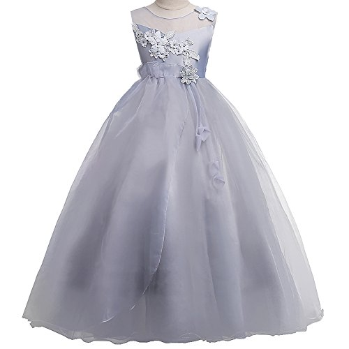 (HUANQIUE Girls Wedding Bridesmaid Dresses Flower Girl Pageant Maxi Gowns Gray 13-14 Years)