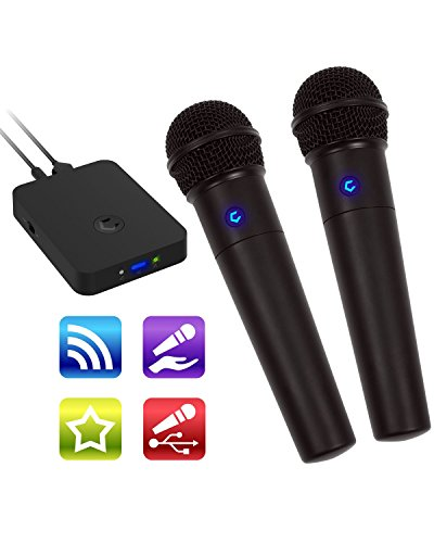 Cobble Pro Wireless Karaoke Microphone 2-pack Mic [Source Vocal Removal Technology][Choose Unlimited Music Source from YouTube, Compatible with iPhone iPad Phone Tablet] New Model BT Speaker ()