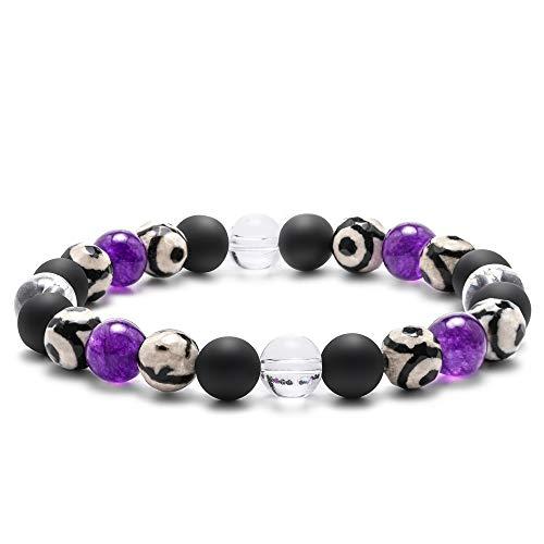 Agate Bead Bracelet for Women - Clear Crystal