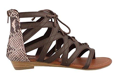 Rampage Frauen Santini Ausschnitt Lace-Up Open Toe Knöchelriemen Gladiator Sandale Braune Schlange