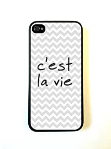 Cest La Vie Grey Chevron Quote iPhone 5 Case Fits iPhone 5