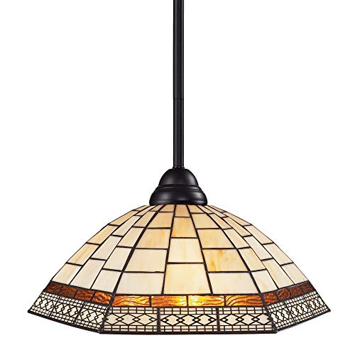 Z-Lite 2114MP-BRZ-Z14-35 Riviera One Light Pendant, Steel Frame, Bronze Finish and Tiffany Shade of Glass -