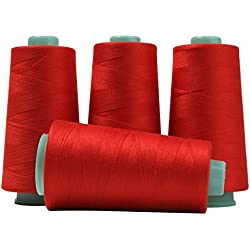 Serger Polyester Threads - Sewing & Quilting 24000 Yard All Purpose Value Pack (4 x 6000 Yards, Red)