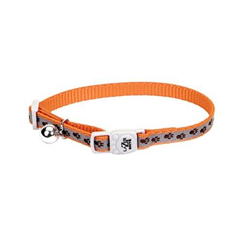 """Lazer Brite Reflective Collar - 3/8"""" - Orange Paw"""
