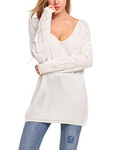Zeagoo Womens Oversized Knitted Pullover Loose Tee Tops V-Neck Cashmere Wool Sweater, White, Small