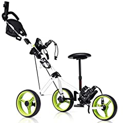 descriptionTangkula deluxe steel golf push cart comes with steel frame and PP handle. Lightweight and study cart with smooth ball bearing wheels makes it easy to carry your golf bags around the course. There are functional foot brakes in the ...
