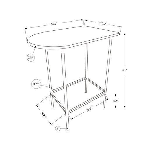 Monarch Specialties Metal Space Saver Bar Table, 24 by 36-Inch, Cappuccino/Black by Monarch Specialties (Image #3)