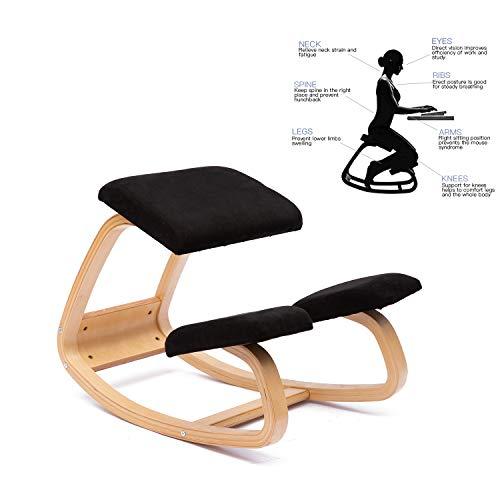 ENMSPLUS Sillas ergonomicas de Rodillas Grande Home Office Silla de Escritorio-Colores multiples (Gamuza Negro)