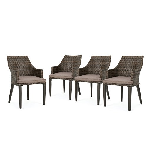 Great Deal Furniture Hilary Outdoor Mixed Mocha Wicker Dining Chairs with Mocha Water Resistant Cushions (Set of 4)
