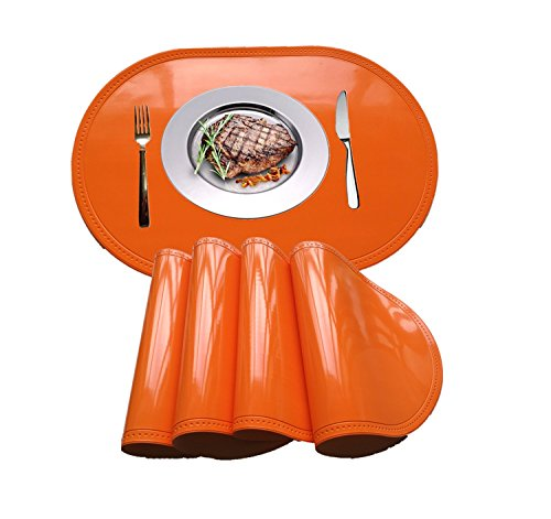 WANGCHAO Placemat, Plastic molding Faux Leather PVC Place mats Oval Smooth placemats Non-Slip Insulation Washable Table Mats (Orange, Set of 4) (Orange Kitchen Table)