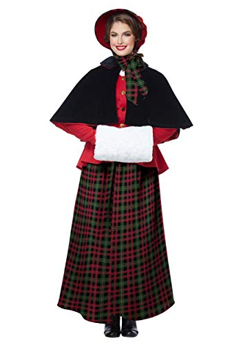 Caroler Bonnet - California Costumes Women's Holiday Caroler Woman-Adult Costume, Red/Green/Black, X-Large