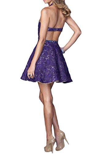 Ausschnitt Rueckenfrei Promkleid Kurz Abendkleid Damen Festkleid Violett Spitze Ivydressing Traumhaft V Twataq