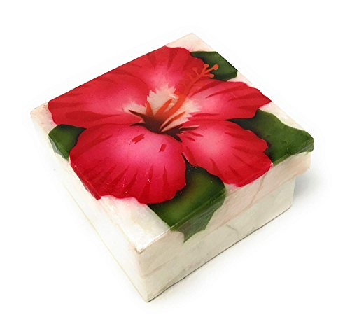 Kubla Crafts Red Hibiscus Capiz Shell Keepsake Box, 3 Inches X 3 Inches