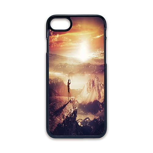 Phone Case Compatible with iPhone7 iPhone8 Black Edge Fashion Personality,Adventure,Traveler Woman with Backpack on Mountain Surveying Sunset Adventure Photo Print,Multicolor,Hard Plastic Phone Case ()