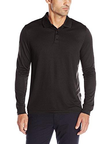 Perry Ellis Men's 3 Button Long Sleeve Jacquard Polo, Black, (Long Sleeve Jacquard Polo)