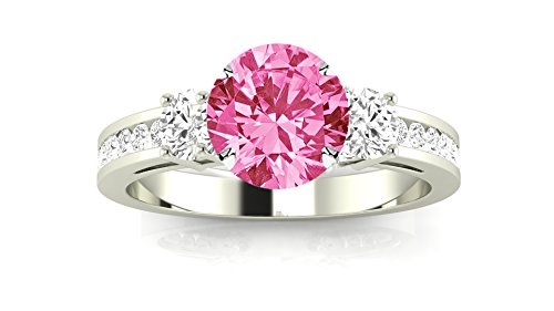 14K White Gold Channel Set 3 Three Stone Diamond Engagement Ring with a 0.75 Carat Pink Sapphire Heirloom Quality Center (Diamond Stone Set Pink)