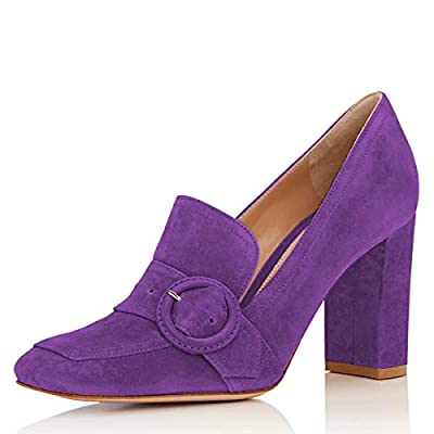 YDN Women Fashion Chunky High Heel Square Toe Loafer Shoes Slip On Suede Office Pumps with Buckle