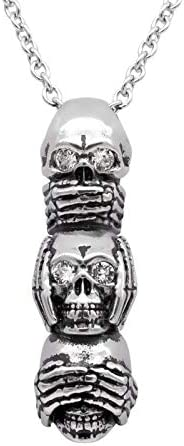 Stainless Steel Necklace Three Skull Pendant Gothic Punk Mens Biker Exaggerated Jewelry Party Fashion Accessories