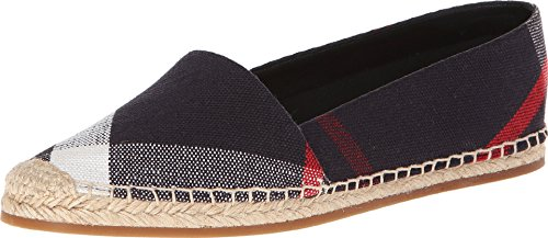BURBERRY Hodgeson Navy Check Canvas Espadrille Flats (7)