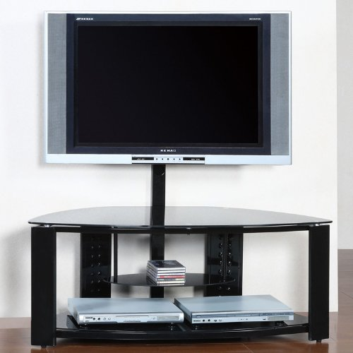 Powell 2-Shelf Corner Flat Panel TV Stand with Post and (Powell Black Stand)
