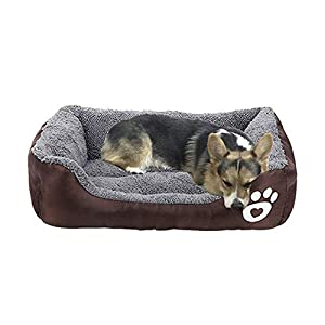 AsFrost Dog Bed, Super Soft Pet Sofa Cats Bed, Non Slip Bottom Pet Lounger,Self Warming and Breathable Pet Bed Premium Bedding (M)-Coffee