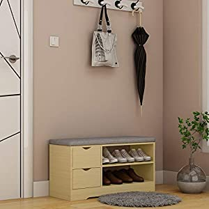 White Wooden Shoe Cabinets Cupboard Storage Unit Shoes Racks with Drawers and 5 Shelves for Entrance Hallway Furniture…