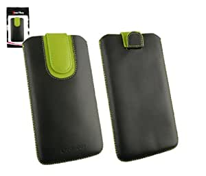 Emartbuy® Negro / Verde Premium Cuero PU Funda Carcasa Case Tipo Bolsa ( Size 5XL ) con Mecanismo de Pestaña para Estirar apto para Qiku Q Terra Ultimate Smartphone