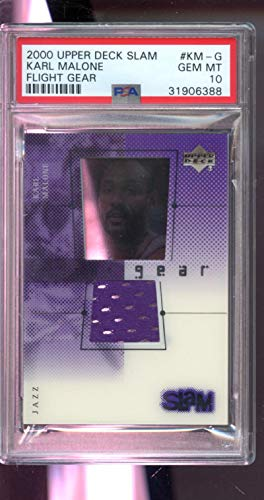 2000-01 Upper Deck Slam Flight Gear Karl Malone Game-Used Game-Worn Jersey NBA GEM MINT PSA 10 Graded Basketball Card ()