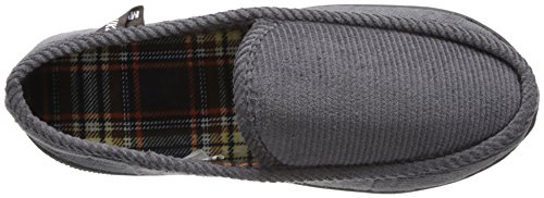 Muk Luks Men's Corduroy Moccasin With Flannel Lining Slip-On Loafer, Black, S None US Grey