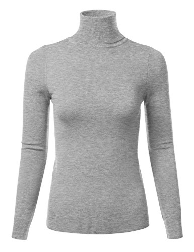 - FLORIA Womens Stretchy Long Sleeve Soft Turtleneck Top Pullover Knit Sweater HEATHERGREY S