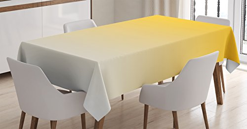 Ambesonne Ombre Tablecloth, Summer Love on The Beach Theme Inspired for Yellow Lovers Modern Ombre Design, Dining Room Kitchen Rectangular Table Cover, 52 W X 70 L Inches, Light Yellow ()