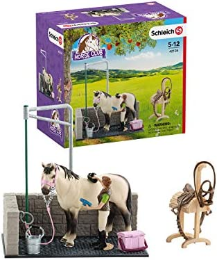 Schleich Horse Club Horse Wash Area 11-piece Educational Playset for Kids Ages 5-12