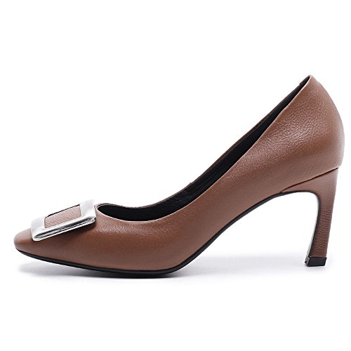 Nio Sju Äkta Läder Womens Fyrkantig Tå Stilett Häl Affärer Handgjorda Eleganta Damer Pumpar Skor Brun