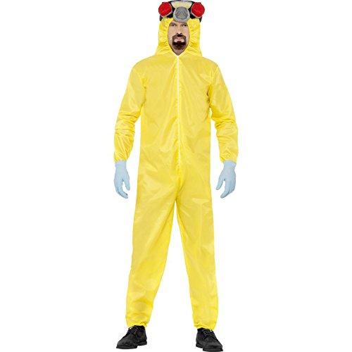 Breaking Bad Costume Uk (Smiffy's Men's Breaking Bad Costume, Hazmat Suit, Rubber Mask, Gloves & Goatee,)