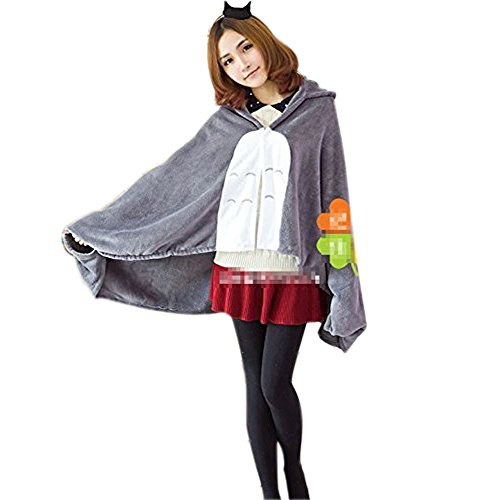 HiRudolph Cosplay My Neighbor Totoro Shoulder Cape Shawl Cloak Soft Plush Costume Grey, 150cm*70cm