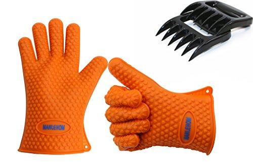 MANLEHOM BBQ Handschuhe claws- hitzebeständige Silikon BBQ-Grill Ofen-Handschuhe & Fleisch Krallen Set zum Kochen, Backen, Rauchen oder Grillen (Orange)