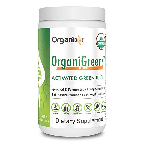 Green Powder Supplement with Probiotics - Organic - 71 Superfoods in 1 - 4X the Vitamins and Minerals of Other Green Drinks - Organigreens by Organixx (Pure) - 30 Servings ()