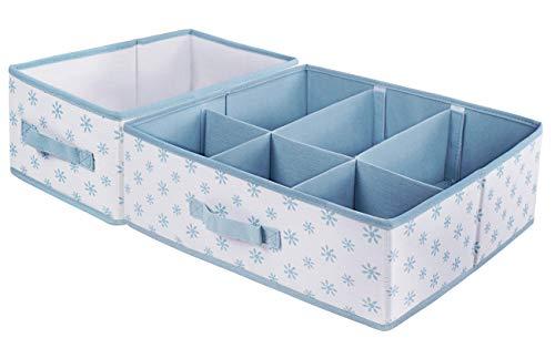 Homyfort Canvas Cloth Dresser Organizer Drawer Divider,Closet Storage Cubes Bins Boxes for Clothes, Underwear, Bras, Socks, Ties, Scarves, Set of 2 White with Blue Flower Printing