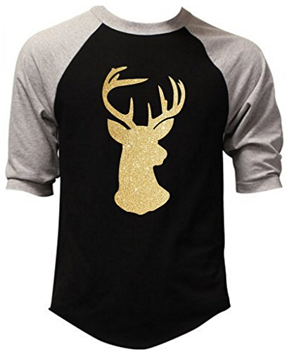 Glitter Gold Reindeer Men's Black/Gray Raglan Baseball T-Shirt X-Large Black/Gray (Gold Glitter Shirt)