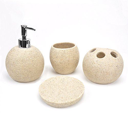 Sandstone Sphere - EVELYNE GMT-10228-TA Sphere Oval Resin Sandstone Bathroom Amenity Accessory Set included Dispenser, Soap Tray, Toothbrush Holder and Tumbler (Beige)