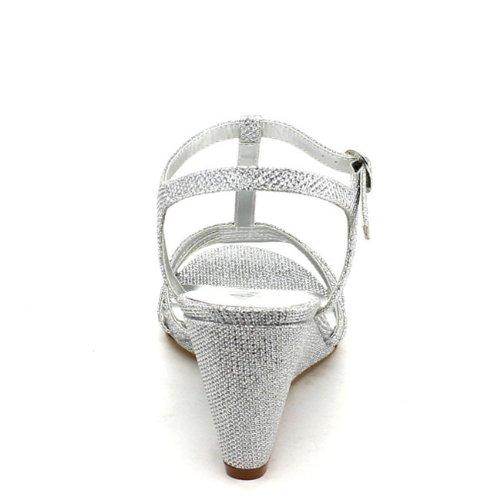 Bonnibel Mujeres Flosa-1 Glitter T Strap Wedge Vestido Sandalias Plata