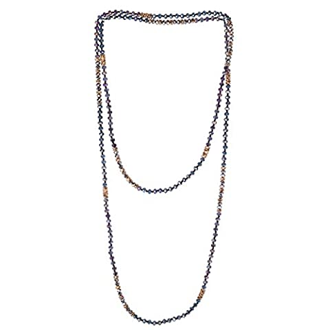 KELITCH Crystal Beaded Necklace Double Wrap Necklace Boho Tribal Women Necklace (Purple) - Crystal Wrap Necklace