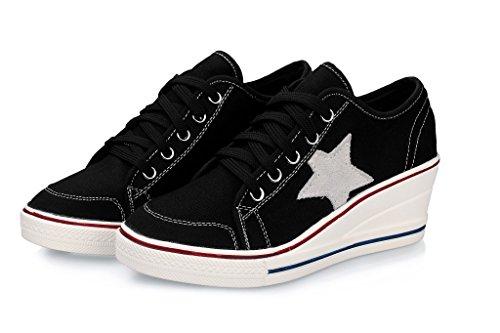 Lona Talón Baja de Inferiores Talón Negro Zapatos Lienzo Otoño 42 Primavera Zapatos pequeños Muffin Color de Ayuda Zapatos Blancos Grueso Comfort tamaño Mujer Talón Talones Zapatos UFqOwv