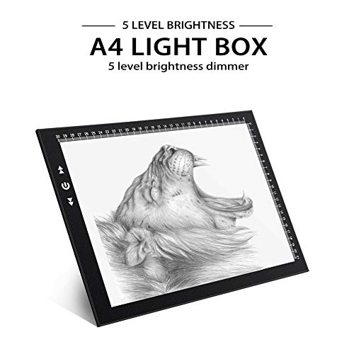 A4 Led Light Box Light Pad New Improved Structure Touch Dimmer 8W Super Bright Max 3800 Lux with Free Carry/Storage Bag 2 Years Warranty (A4 Light Pad) by HSK (Image #1)