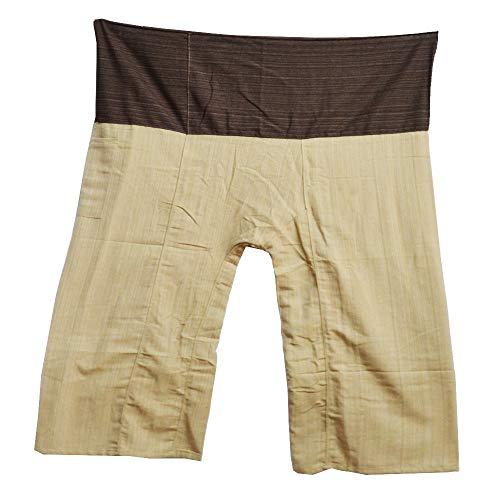 MissBangkok 2 Tone Thai Fisherman Pants Yoga Trousers Free Size Plus Size Cotton Drill Striped Brown