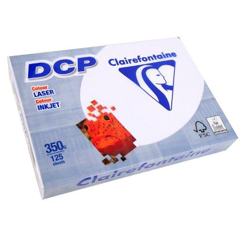 CLAIREFONTAINE Lot de 4 Ramettes 125 Feuilles Papier DCP 350g A4 210x297 mm Certifié FSC Blanc